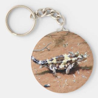 Lagarto espinoso del diablo llavero redondo tipo pin