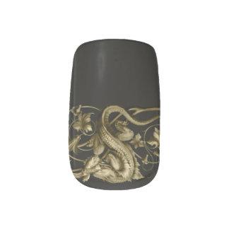 Lagarto gótico de oro pegatinas para manicura