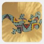Lagarto pintado del gecko en la pared, Tucson, Colcomanias Cuadradases