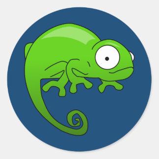 Lagarto verde de la iguana pegatina redonda