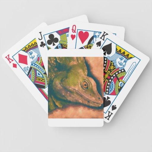 Lagarto verde del basilisco baraja de cartas