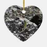 Lagarto verde en una roca adorno de cerámica en forma de corazón