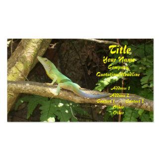Lagarto verde jamaicano tarjetas personales