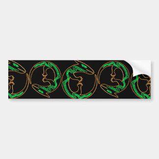 Lagarto verde tribal único pegatina de parachoque