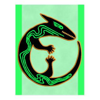 Lagarto verde tribal único postales