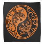 Lagartos anaranjados y negros de Yin Yang Bandanas