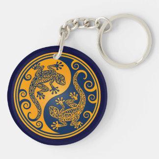 Lagartos azules de oro de Yin Yang Llavero Redondo Acrílico A Doble Cara