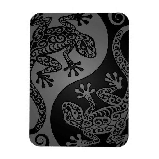 Lagartos grises y negros de Yin Yang Iman De Vinilo