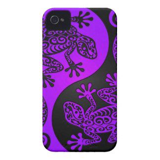 Lagartos púrpuras y negros de Yin Yang iPhone 4 Carcasas