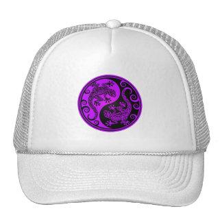 Lagartos púrpuras y negros de Yin Yang Gorra