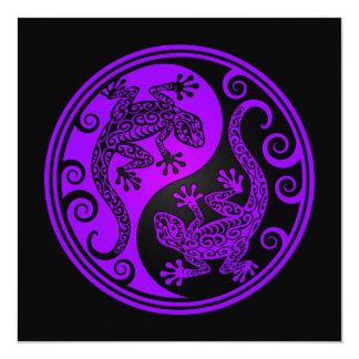 Lagartos púrpuras y negros de Yin Yang Invitacion Personal