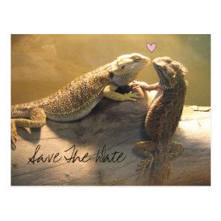 Lagartos que se besan lindos que casan reserva la  tarjeta postal
