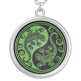Lagartos verdes y negros de Yin Yang Colgantes