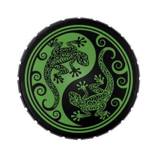 Lagartos verdes y negros de Yin Yang Jarrones De Dulces