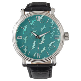 Lagartos y Geckos, en azul del trullo Relojes De Pulsera