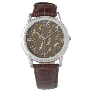 Lagartos y Geckos, en marrón del café Reloj