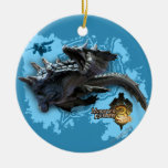 Lagiacrus chasing Hunter Double-Sided Ceramic Round Christmas Ornament