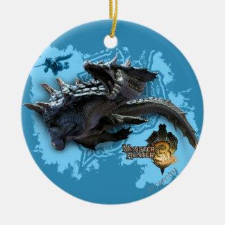 Lagiacrus que persigue al cazador adorno navideño redondo de cerámica