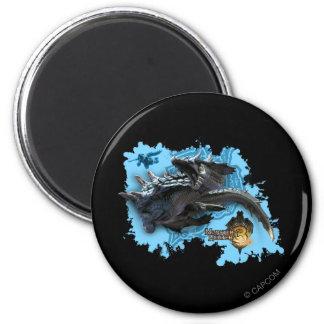 Lagiacrus que persigue al cazador imán redondo 5 cm