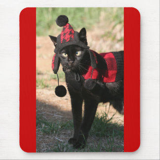 Lagniappe the Sweater Wearing Black Cat Mouse Pad