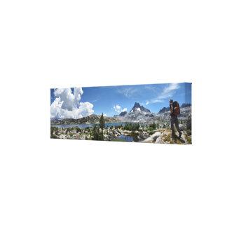 Lago 1000 island y pico de la bandera - rastro de impresión en lienzo