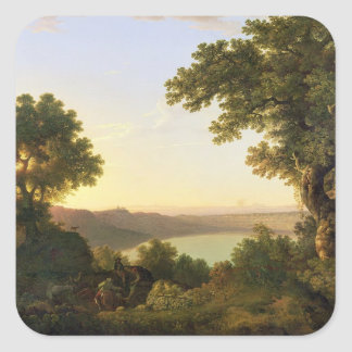 Lago Albano, Italia, 1777 (aceite en lona) Pegatina Cuadrada