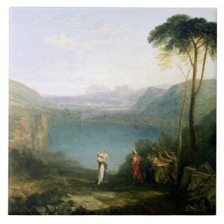 Lago Avernus: Aeneas y la sibila de Cumaean, c.181 Azulejo Cuadrado Grande