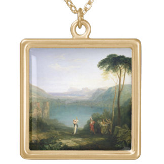 Lago Avernus: Aeneas y la sibila de Cumaean, c.181 Colgante Cuadrado