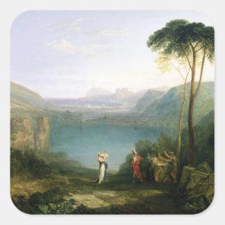 Lago Avernus: Aeneas y la sibila de Cumaean, Pegatina Cuadrada