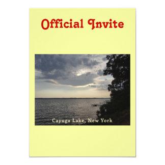 """Lago azul Cayuga de la puesta del sol Invitación 5"""" X 7"""""""