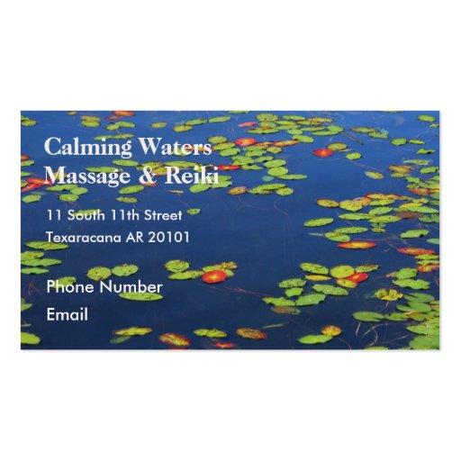 Lago azul con los cojines de lirio plantilla de tarjeta de negocio