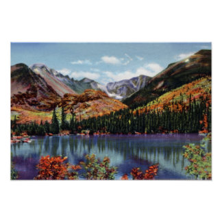 Lago bear de Colorado del parque de Estes y pico l Póster