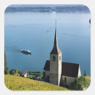 Lago Biel Suiza Pegatina Cuadrada