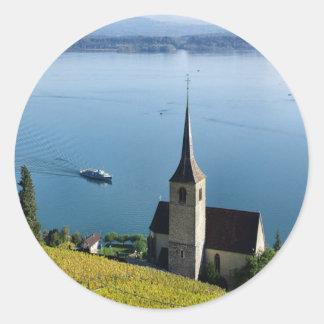 Lago Biel Suiza Pegatina Redonda