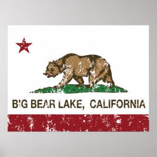 Lago big Bear de la república de California Póster