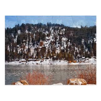 Lago big Bear, nieve del invierno Postal