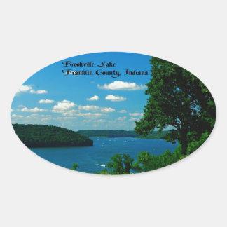 Lago Brookville, el condado de Franklin Indiana Colcomanias De Óval Personalizadas