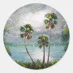 Lago brumoso tropical etiquetas redondas