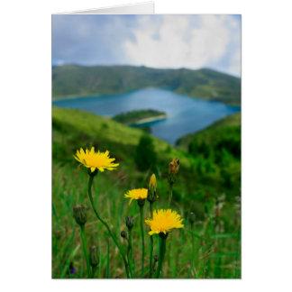 Lago caldera en las islas de Azores Tarjeta De Felicitación