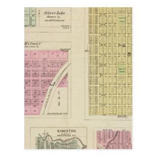 Lago castaño, de plata, Kilmer, y Richland, Kansas Tarjeta Postal