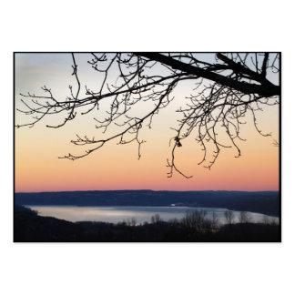 Lago Cayuga en el ATC de la puesta del sol Tarjetas De Visita