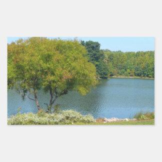 Lago centenario en la ciudad Maryland de Ellicott Pegatina Rectangular