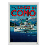 Lago Como Italia travel del vintage Póster