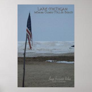 Lago congelado bandera dunes de Indiana Póster