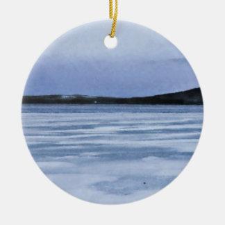 Lago congelado adorno redondo de cerámica