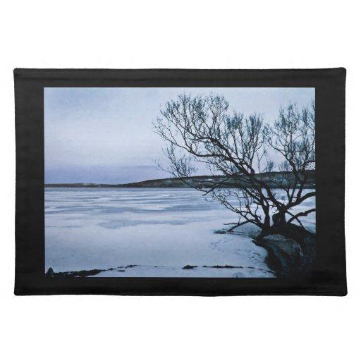 Lago congelado mantel individual