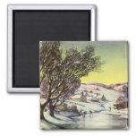 Lago congelado navidad Snowscape vintage Iman De Nevera