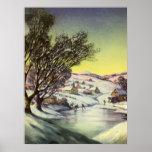 Lago congelado navidad Snowscape vintage Impresiones