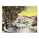 Lago congelado navidad vintage con los patinadores postales