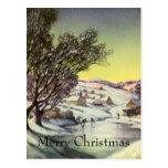 Lago congelado navidad vintage con los patinadores tarjeta postal